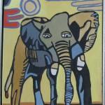 Elefant i aftensol