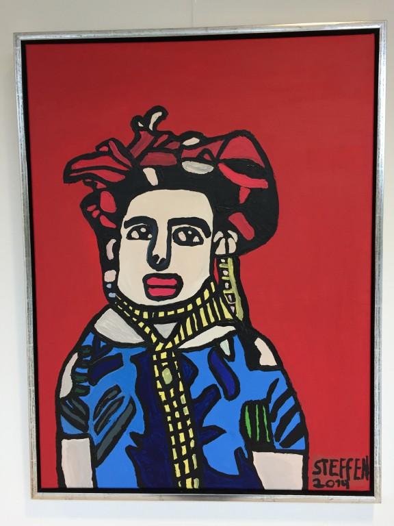 17.Frida Karlo med rød baggrund 60x80 1000kr.