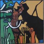 Elefant fra Balule 60x60 cm. 600,-