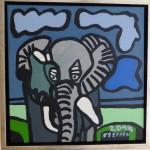 7. Elefant og blå himmel. 40x40 cm 300,-