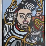 16. Frida Kahlo med aber. 60x80 cm. 1000,-