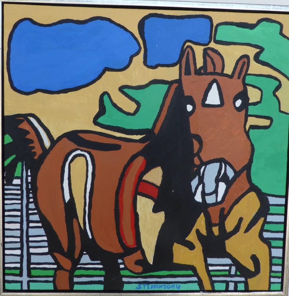 20. Hest 60x60 cm 500,-